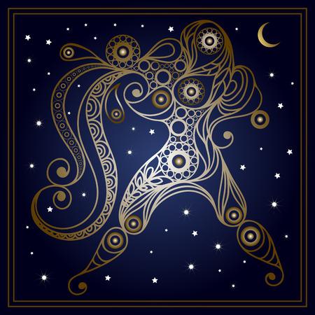 花のスタイルで装飾的な十二宮サインみずがめ座。星座と占星術天文記号です。ベクトルの図。