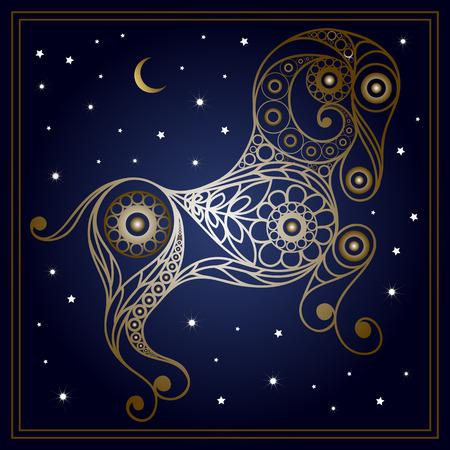 花のスタイルで装飾的な星座サイン牡羊座。星座と占星術天文記号です。ベクトルの図。