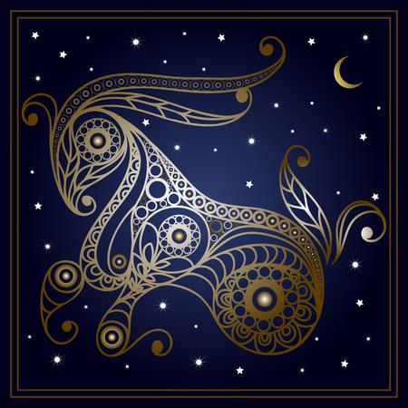 花のスタイルで装飾的な十二宮サイン山羊座。星座と占星術天文記号です。ベクトルの図。