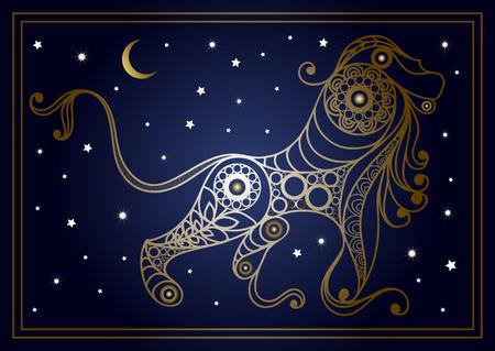 装飾的な星座レオ花のスタイルで。星座と占星術天文記号です。ベクトルの図。  イラスト・ベクター素材