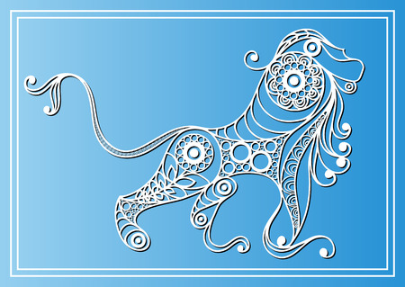 leo: Decorative zodiac sign Leo in floral style. Horoscope and astrology astronomy-symbol. Vector illustration.