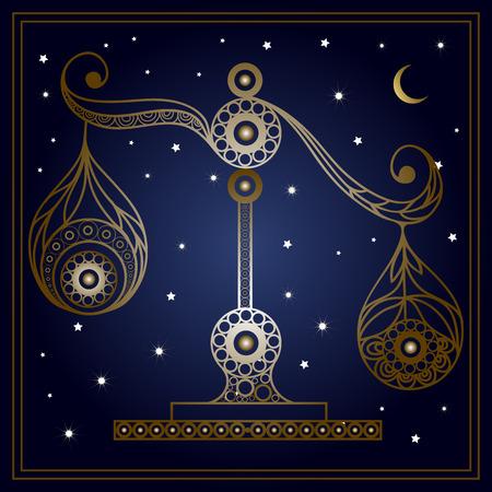 花のスタイルで装飾的な星座記号天秤座。星座と占星術天文記号です。ベクトルの図。
