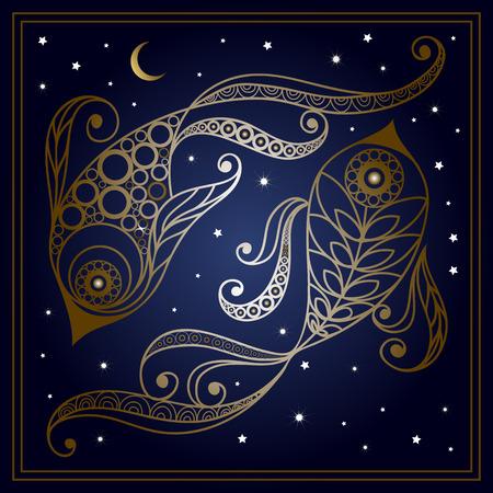 装飾的な星座うお座花のスタイルで。星座と占星術天文記号です。ベクトルの図。