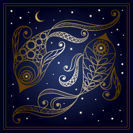 Decorative zodiac sign Pisces in floral style. Horoscope and astrology astronomy-symbol. Vector illustration. 矢量图像