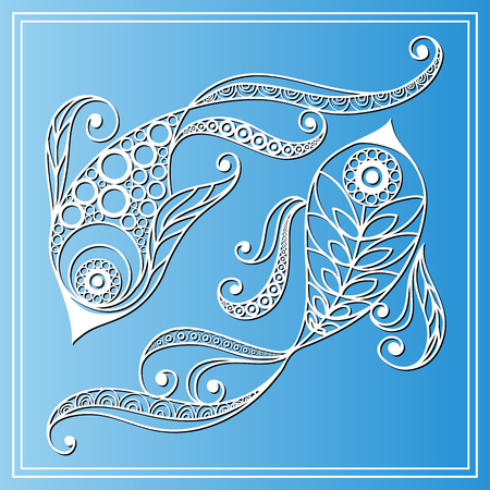 symbol sign: Decorative zodiac sign Pisces in floral style. Horoscope and astrology astronomy-symbol. Vector illustration. Illustration