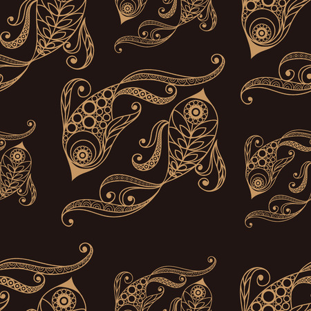 tissue paper art: Seamless texture background with lace pattern with Pisces.
