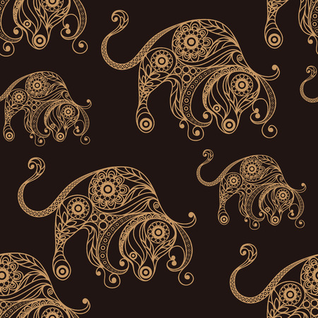 tissue paper art: Seamless texture background with lace pattern with Taurus.