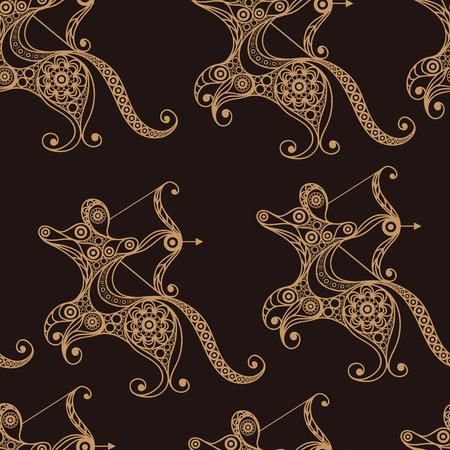 gobelin: Seamless texture background with lace pattern with Sagittarius. Illustration