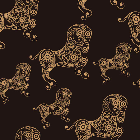 aries zodiac: Seamless texture background with lace pattern with Aries.