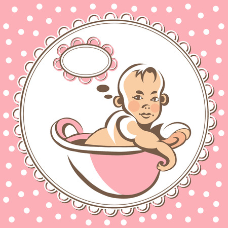 infancy: Portrait of little baby (child, kid)-girl. Suitable for invitation, flyer, sticker, poster, banner, card,label, cover, web. Colorful vector illustration isolated.