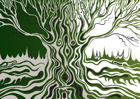 Estilizada solo árbol aislado (roble). Adecuado para la invitación, folleto, etiqueta engomada, cartel, bandera, tarjeta, etiqueta, cubierta, web. Ilustración del vector.