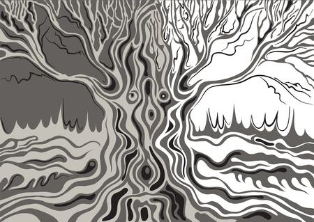 Estilizada solo árbol aislado (roble). Adecuado para la invitación, folleto, etiqueta engomada, cartel, bandera, tarjeta, etiqueta, cubierta, web. Ilustración del vector. Ilustración de vector