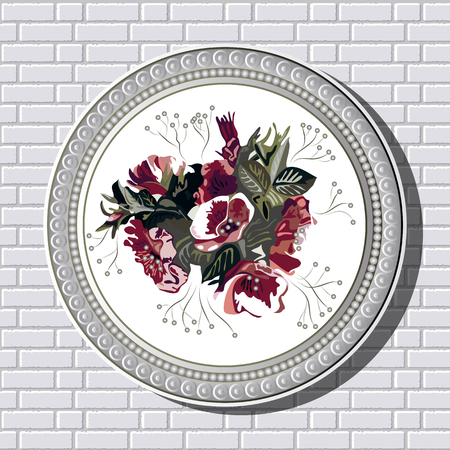 briar: Graphic illustration of picture with flowers (briar) in a frame on the background of a brick wall.  Suitable for invitation, flyer, sticker, poster, banner, card,label, cover, web. Vector illustration. Illustration