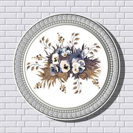 wall decor: Graphic illustration of picture with flowers (pansies) in a frame on the background of a brick wall.  Suitable for invitation, flyer, sticker, poster, banner, card,label, cover, web. Vector illustration.