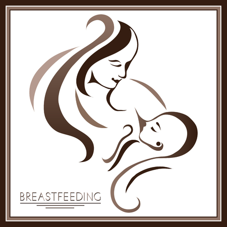 Breastfeeding symbol. Woman feeding baby. Mother and child together. Mother's milk for newborn baby. 矢量图像