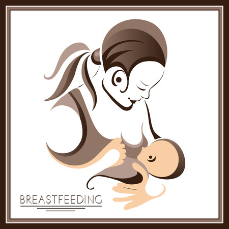 breastfeeding: Breastfeeding symbol. Woman feeding baby. Mother and child together. Mothers milk for newborn baby.