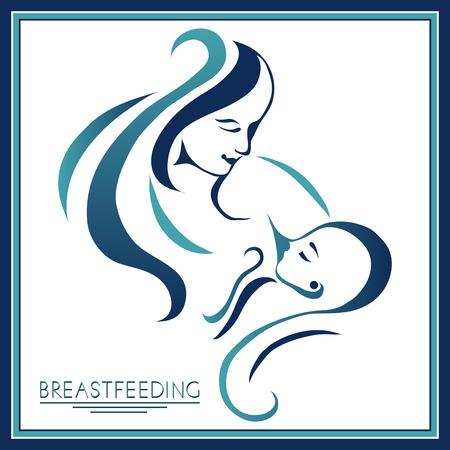 母乳育児のシンボル。女性で授乳。母と子が一緒に。生まれたばかりの赤ちゃんの母親の乳。