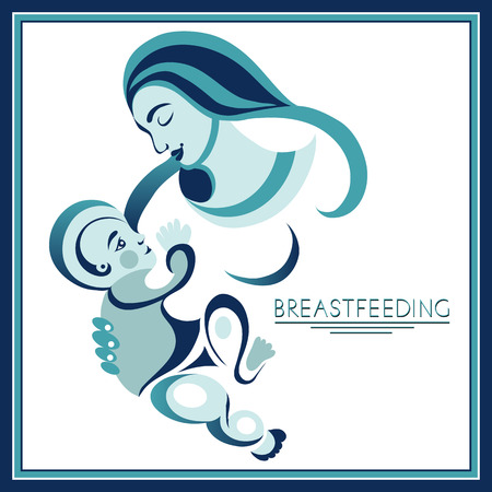 Breastfeeding symbol. Woman feeding baby. Mother and child together. Mothers milk for newborn baby.