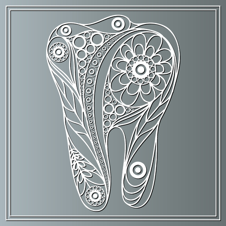 stomatology: Graphic illustration of tooth in floral style. The symbol (emblem) of dentistry (stomatology).