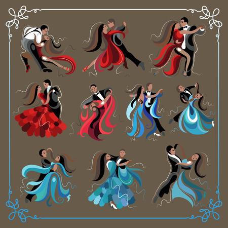 male ballet dancer: Set (kit) of dancing men and women (waltz and tango).