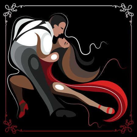 tango: Couple (man and woman), dancing the tango.