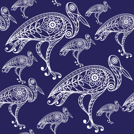 heron: Seamless texture with lace pattern in floral style (with bird(stork, heron). Suitable for design: cloth, web, wallpaper, wrapping. Vector illustration. Illustration