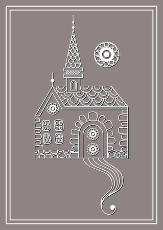 belfry: Patterned castle (palace) in floral style. Suitable for invitation, flyer, sticker, poster, banner, card,label, cover, web. Vector illustration.