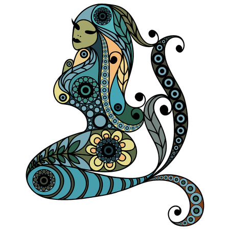 seamaid: Patterned mermaid in floral style. Suitable for invitation, flyer, sticker, poster, banner, card,label, cover, web. Vector illustration.