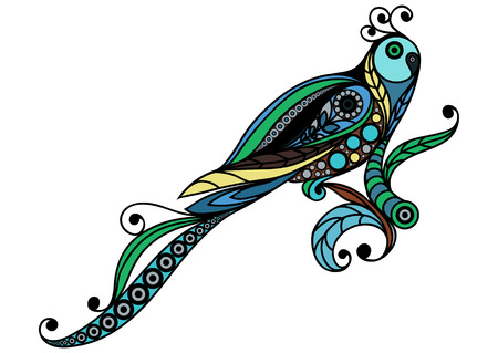 feathery: Patterned parrot in floral style. Suitable for invitation, flyer, sticker, poster, banner, card,label, cover, web. Vector illustration. Illustration