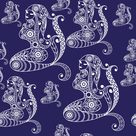 seamaid: Seamless texture with lace pattern in floral style (with mermaid, nixie, water nymph, seamaid, seamaiden, undine). Suitable for design: cloth, web, wallpaper, wrapping.