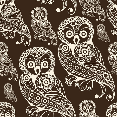 gobelin: Seamless texture with lace pattern in floral style (with bird(owl). Suitable for design: cloth, web, wallpaper, wrapping. Vector illustration.