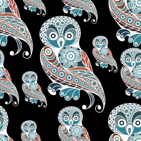 Seamless texture with lace pattern in floral style (with bird(owl). Suitable for design: cloth, web, wallpaper, wrapping. Vector illustration.