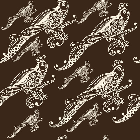 gobelin: Seamless texture with lace pattern in floral style (with bird(parrot). Suitable for design: cloth, web, wallpaper, wrapping. Vector illustration.