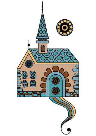 chateau: Patterned castle (palace) in floral style. Suitable for invitation, flyer, sticker, poster, banner, card,label, cover, web. Vector illustration.