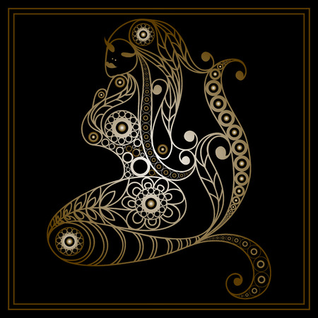undine: Patterned mermaid in floral style. Suitable for invitation, flyer, sticker, poster, banner, card,label, cover, web. Vector illustration.