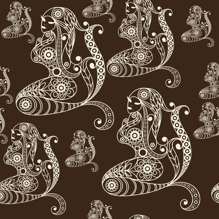 gobelin tapestry: Seamless texture with lace pattern in floral style (with mermaid, nixie, water nymph, seamaid, seamaiden, undine). Suitable for design: cloth, web, wallpaper, wrapping.