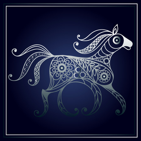 patterned: Patterned horse in floral style. Illustration