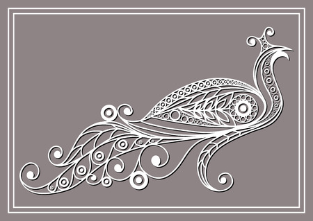 peafowl: Patterned peacock (peafowl) in floral style. Illustration