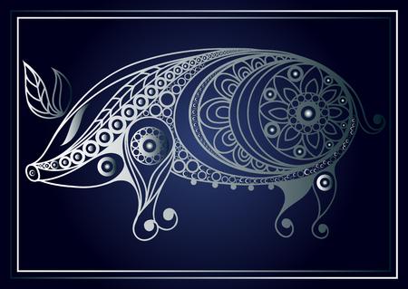 sow: Patterned pig in floral style. Illustration