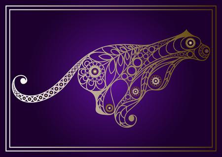 Patterned cougar in floral style. Illustration
