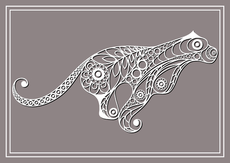 dexterous: Patterned cougar in floral style. Illustration