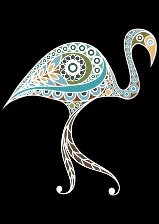 patterned: Patterned flamingo in floral style. Illustration
