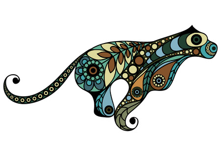 Patterned cougar in floral style. Illustration