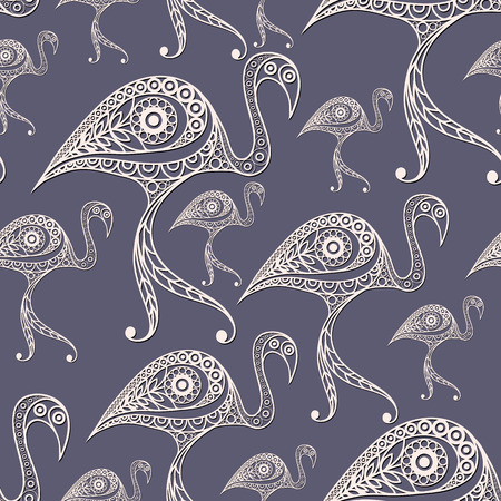 gobelin tapestry: Seamless texture with lace pattern in floral style (with flamingo). Suitable for design: cloth, web, wallpaper, wrapping. Vector illustration.