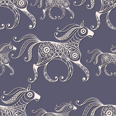 gobelin tapestry: Seamless texture with lace pattern in floral style (with horse). Suitable for design: cloth, web, wallpaper, wrapping. Vector illustration.