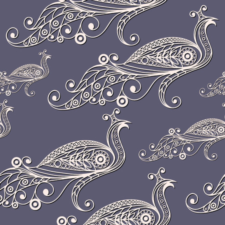 peafowl: Seamless texture with lace pattern in floral style (with peacock (peafowl). Suitable for design: cloth, web, wallpaper, wrapping. Vector illustration.