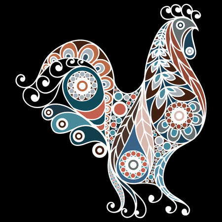 feathery: Patterned cock in floral style.