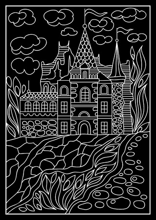 chateau: Fantasy landscape. Fairy tale castle, old medieval town, park trees. Hand drawn sketch. T-shirt print. Album cover. Suitable for invitation, flyer, sticker, poster, banner, card, label, cover, web. Vector illustration.