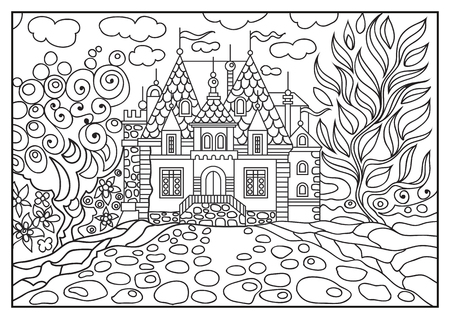 chateau: Fantasy landscape. Fairy tale castle, old medieval town, park trees. Hand drawn sketch. T-shirt print. Album cover. Coloring book page. Suitable for invitation, flyer, sticker, poster, banner, card, label, cover, web. Vector illustration. Illustration