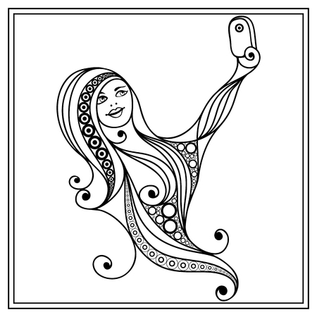 black woman face: Young girl (woman, female) taking selfie photo with mobile phone (smartphone). Suitable for invitation, flyer, sticker, poster, banner, card,label, cover, web. Coloring book page. Vector illustration.